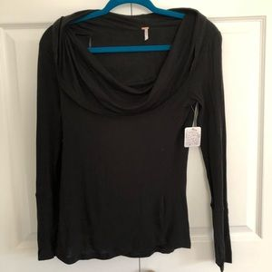 Free People off or on the shoulder cowl neck top